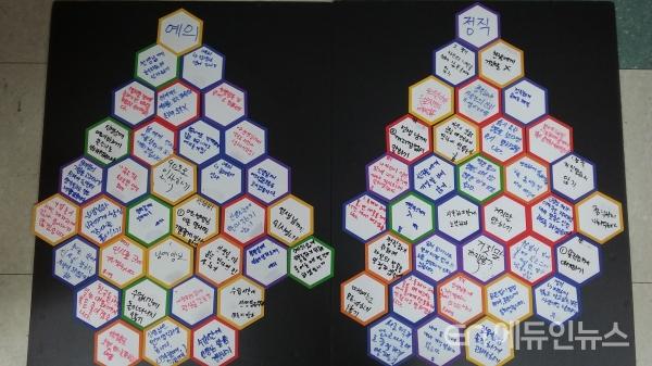 '예의'라는 덕목을 실천하기 위해 학생들이 작성해 붙였다.(사진=김재란 교사)