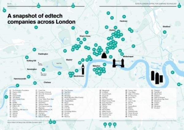 영국 런던 소재 에듀테크 기업 지도(사진 출처=EDTECH: LONDON CAPITAL FOR LEARNING TECHNOLOGY 보고서)
