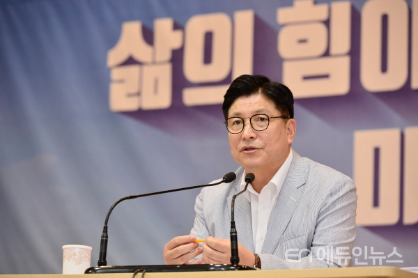 도성훈 교육감이 30일 오전 취임 2주년 기자회견에서 발언하고 있다.(사진=인천시교육청)<br>