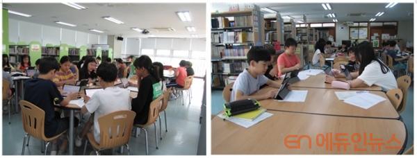 19년 뉴스 리터러시 수업 광경.(사진=강은영 사서교사)